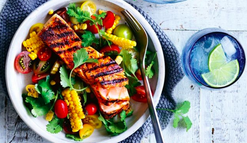Cajun Salmon with Chargrilled Corn Salsa