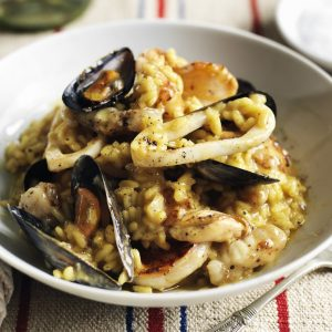 Seafood Risotto Flavoured with White Wine