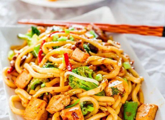 Tofu Drunken Udon Noodles